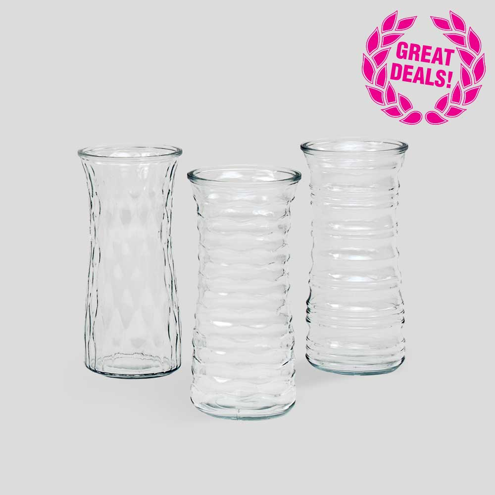 "9.5"" GLASS VASE ASSORTMENT"