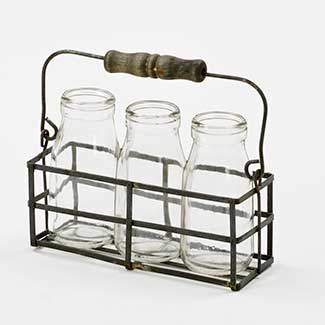 3 JAR HOLDER W/ HANDLE & JARS