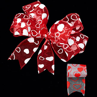 "1 3/8"" WIRED LOTS OF HEARTS RIBBON"