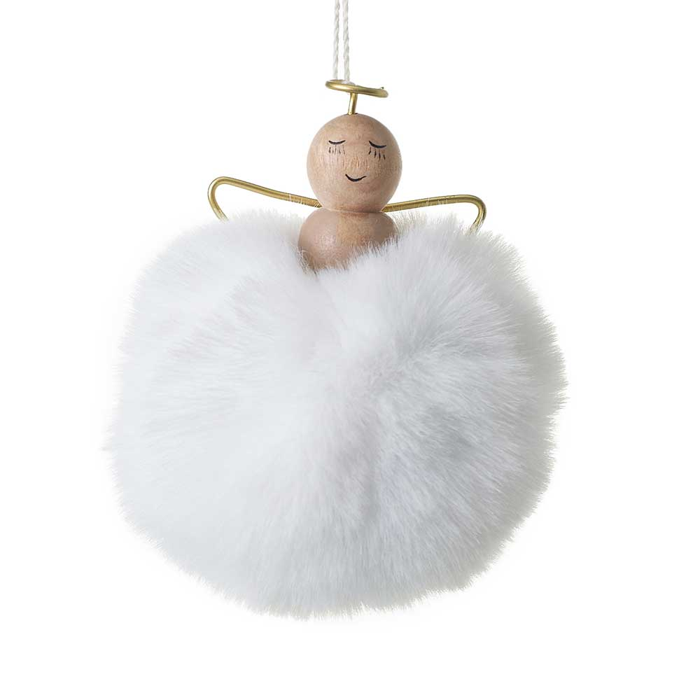 "ANGEL PUFF ORNAMENT WHITE 3""X3.5"""