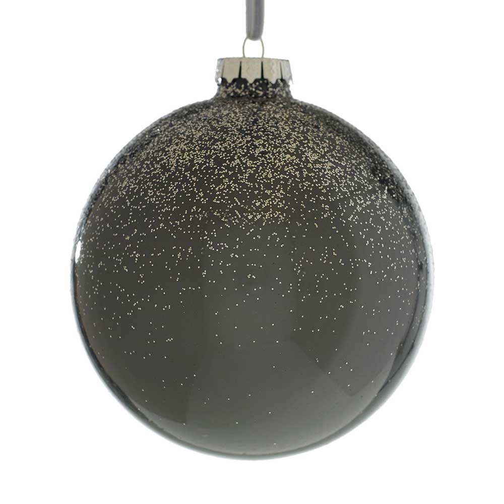 "4"" SPRINKLE GLITTER ORNAMENT DARK    GREY"