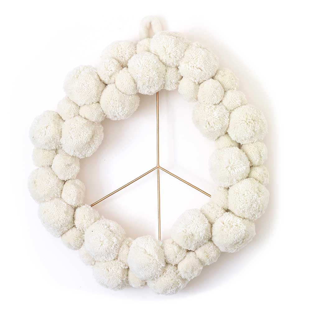 "17.5"" PEACE POM WREATH"