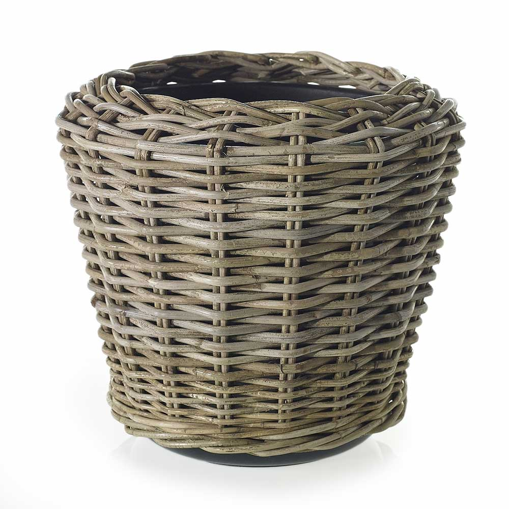 "RATTAN BASKET 16""X 14.5"" GREY"