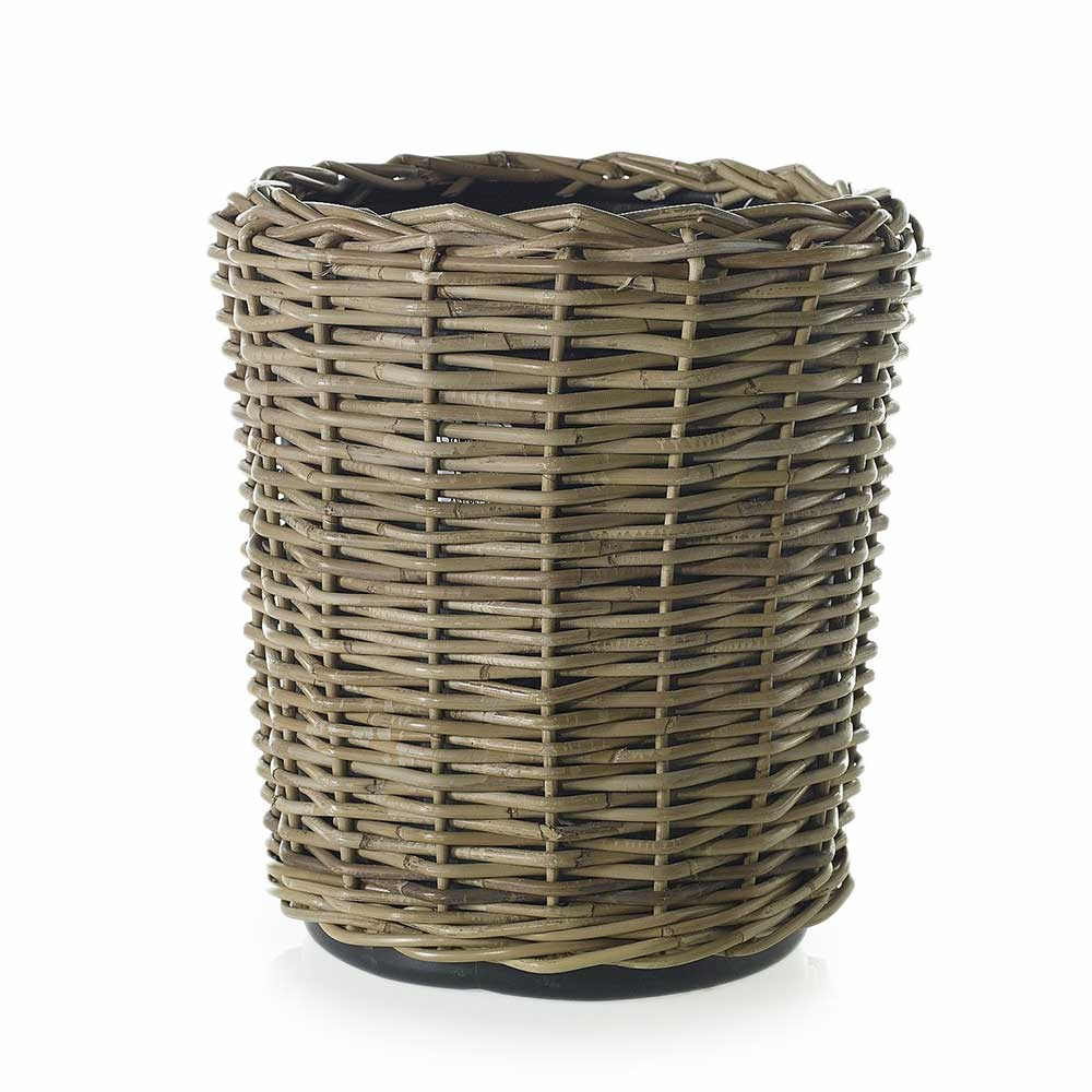 "RATTAN BASKET 16.5""X 17"" GREY"