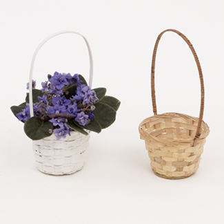 "4"" WHITE BASKETS WITH HANDLES"