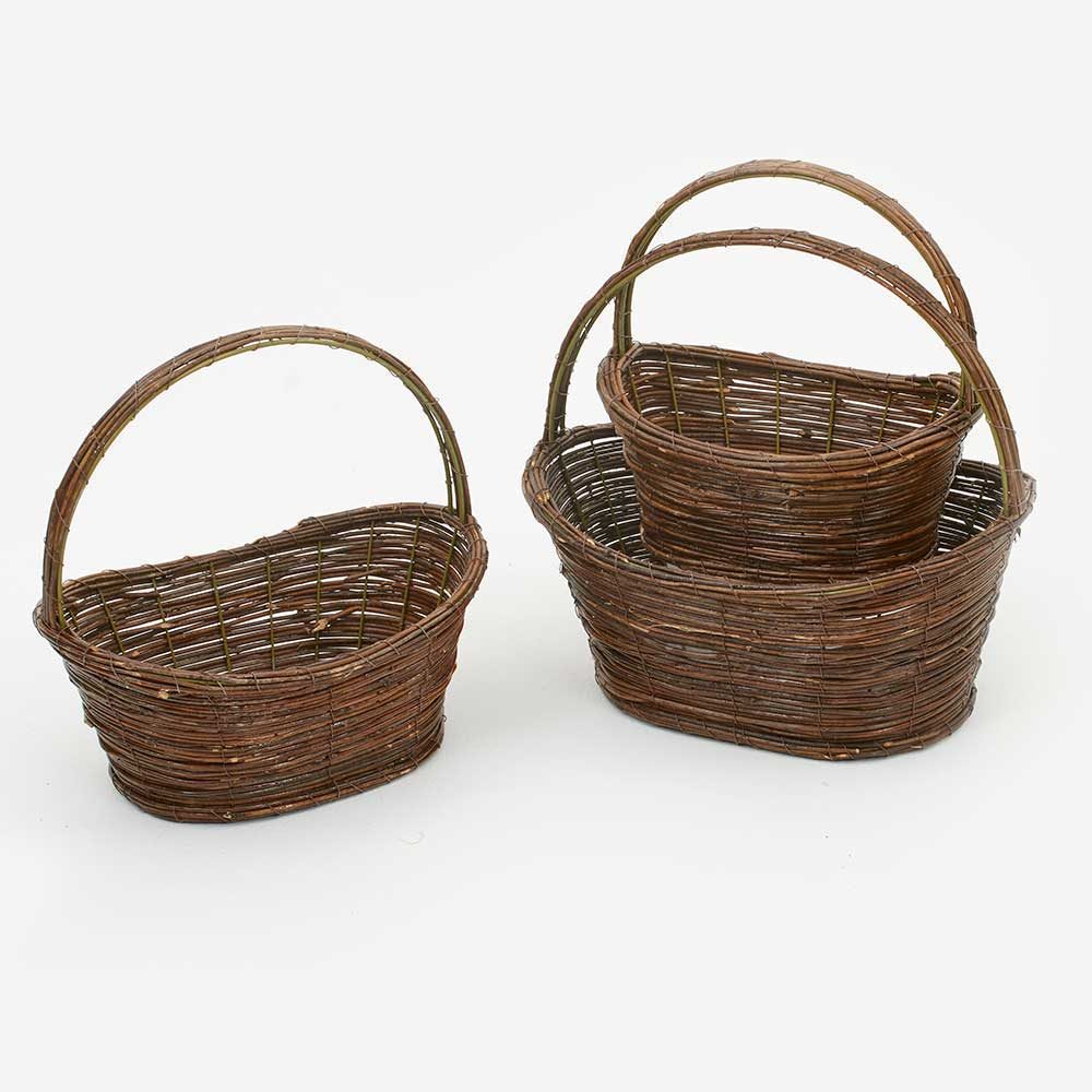 OVAL WILLOW/METAL BASKETS