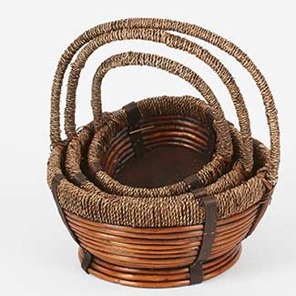 ROUND BASKETS WITH ROPE HANDLE