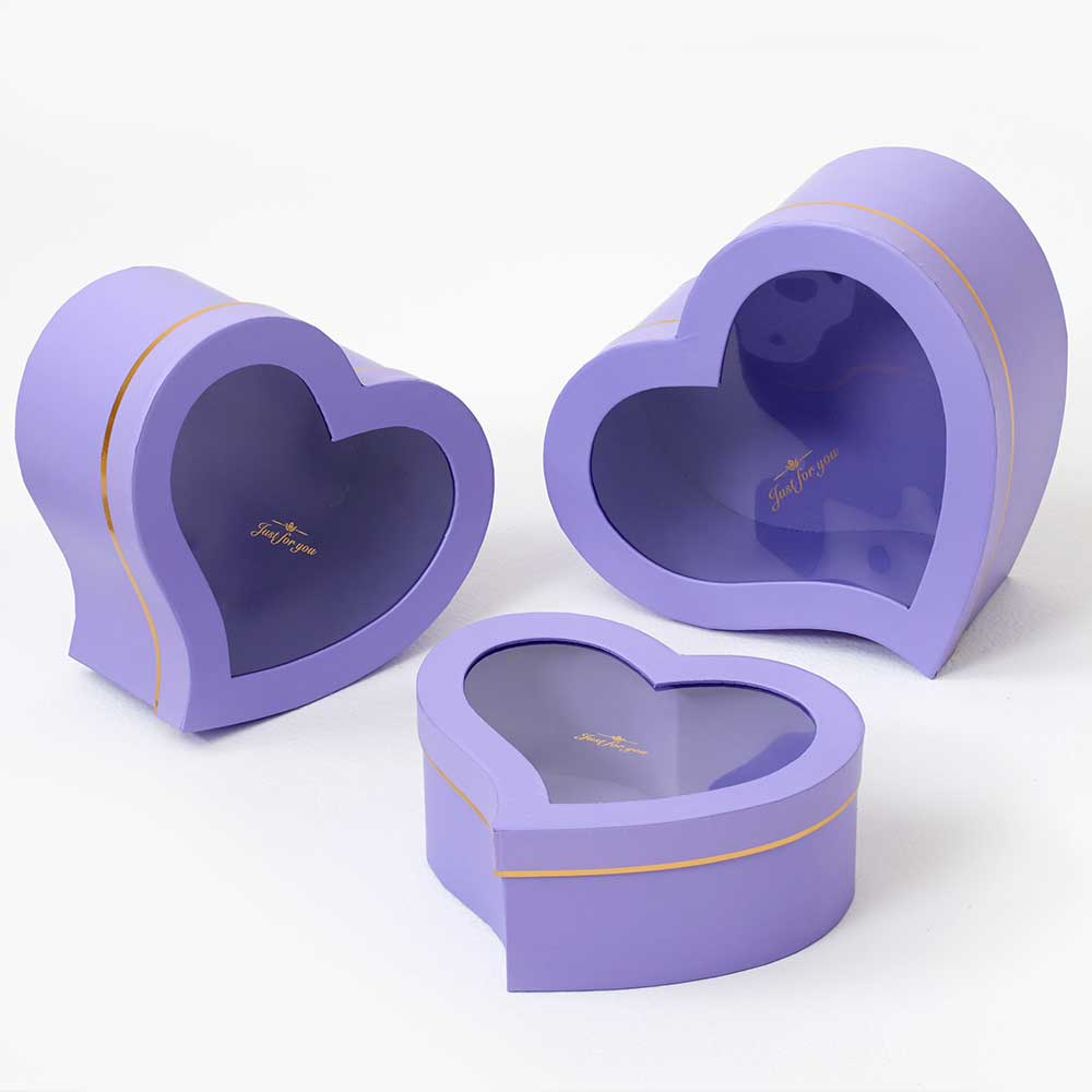 WIN. HEART BOXES,LAVENDER