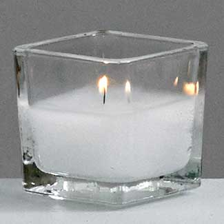 "5 HR VOTIVE IN 2"" SQUARE GLASS"