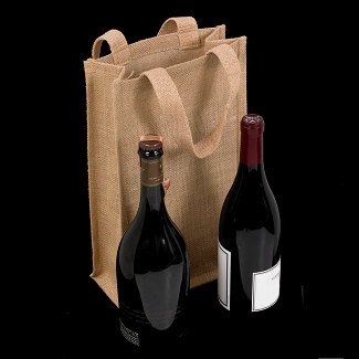 2 BOTTLE BURLAP WINE TOTE