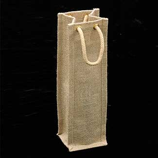 ONE BOTTLE BURLAP WINE TOTE