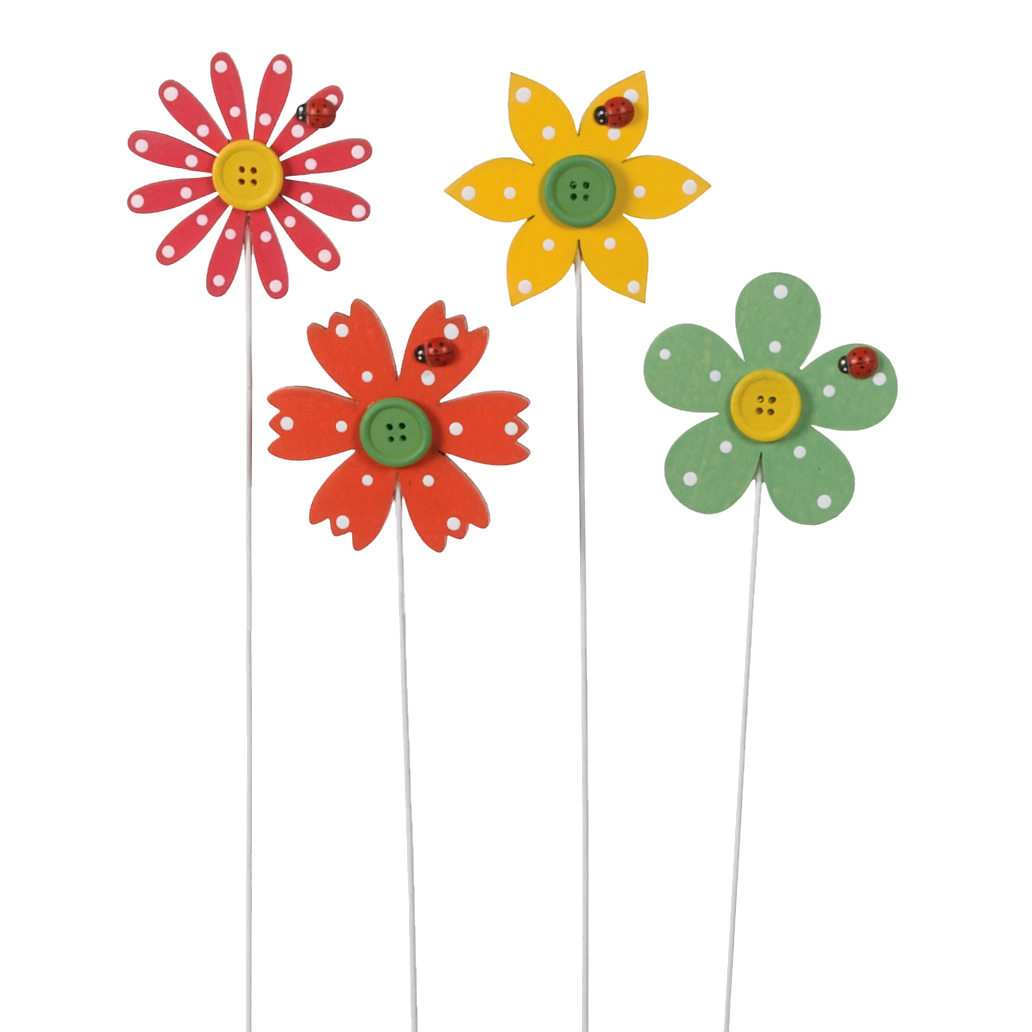 "3.25"" WOOD FLOWER PICK WITH BUTTON, 4 ASSORTMENT"