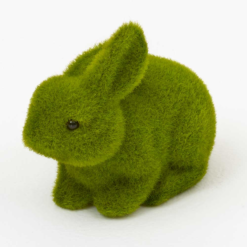 "7"" GREEN FLOCKED RABBIT"
