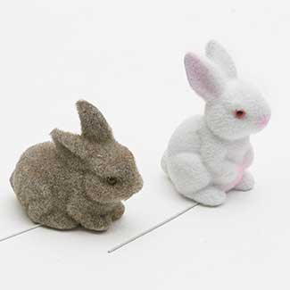 "4"" FLOCKED RABBITS"