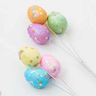 "1.5"" ASSORTED GLITTER EGGS"