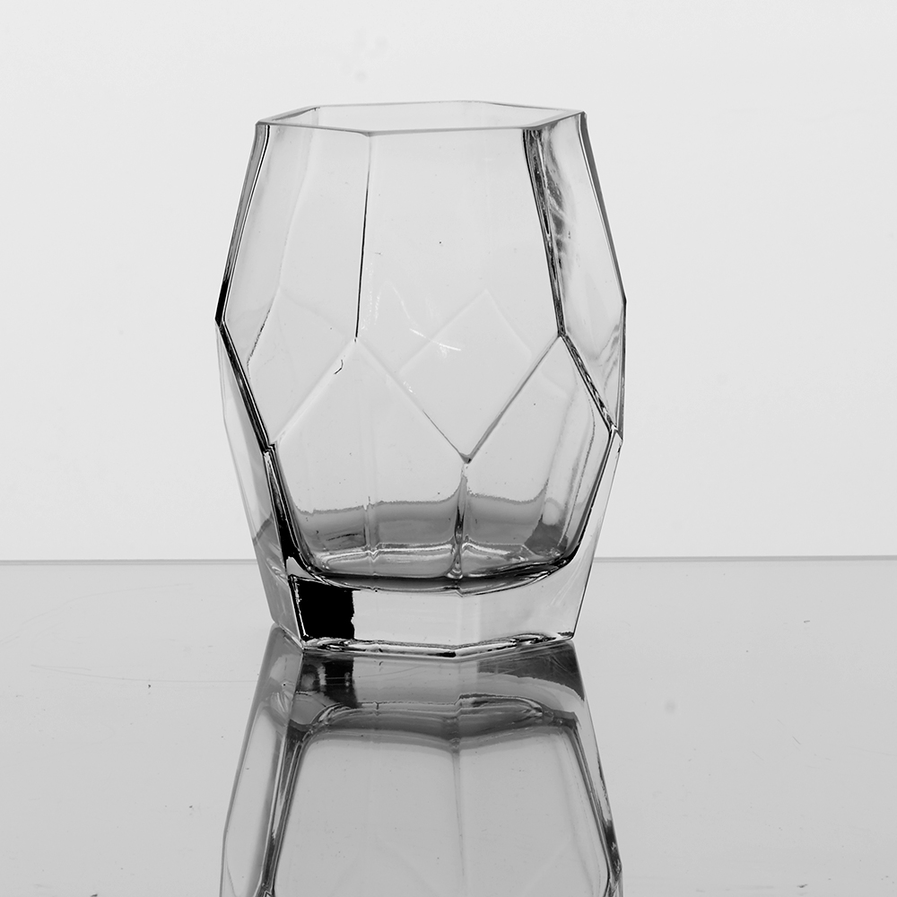 "GLASS 6"" GEOMETRIC VASE, CLEAR"