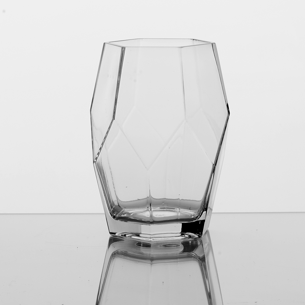 "GLASS 8"" GEOMETRIC VASE, CLEAR"