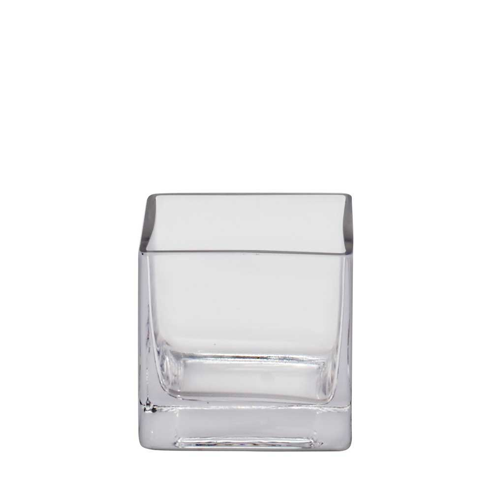 "GLASS   3.5"" CUBE VASE,CLEAR"