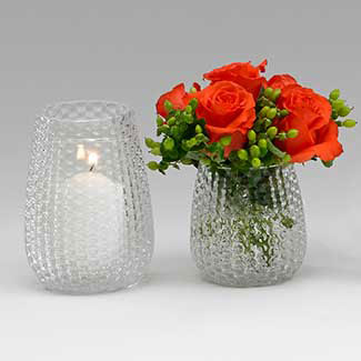 "GLASS   6"" X 3"" VASE/CANDLE HOLDER"