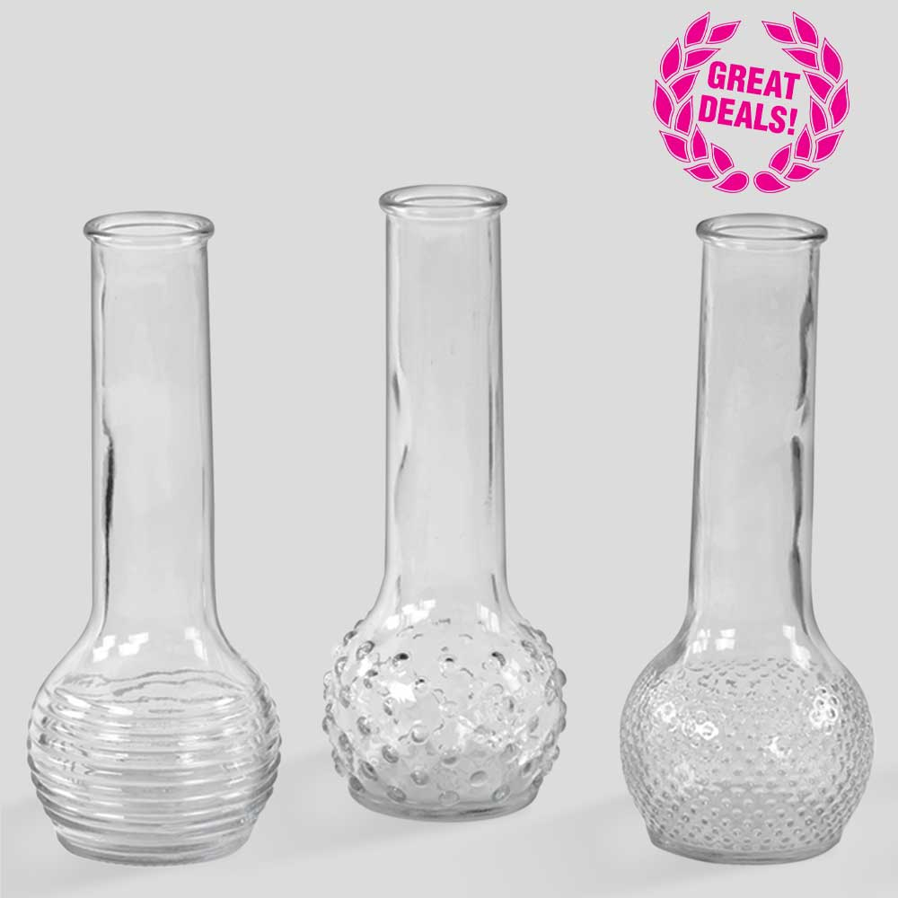 "GLASS 9"" X 1.5"" BUD VASE ASSORTMENT"