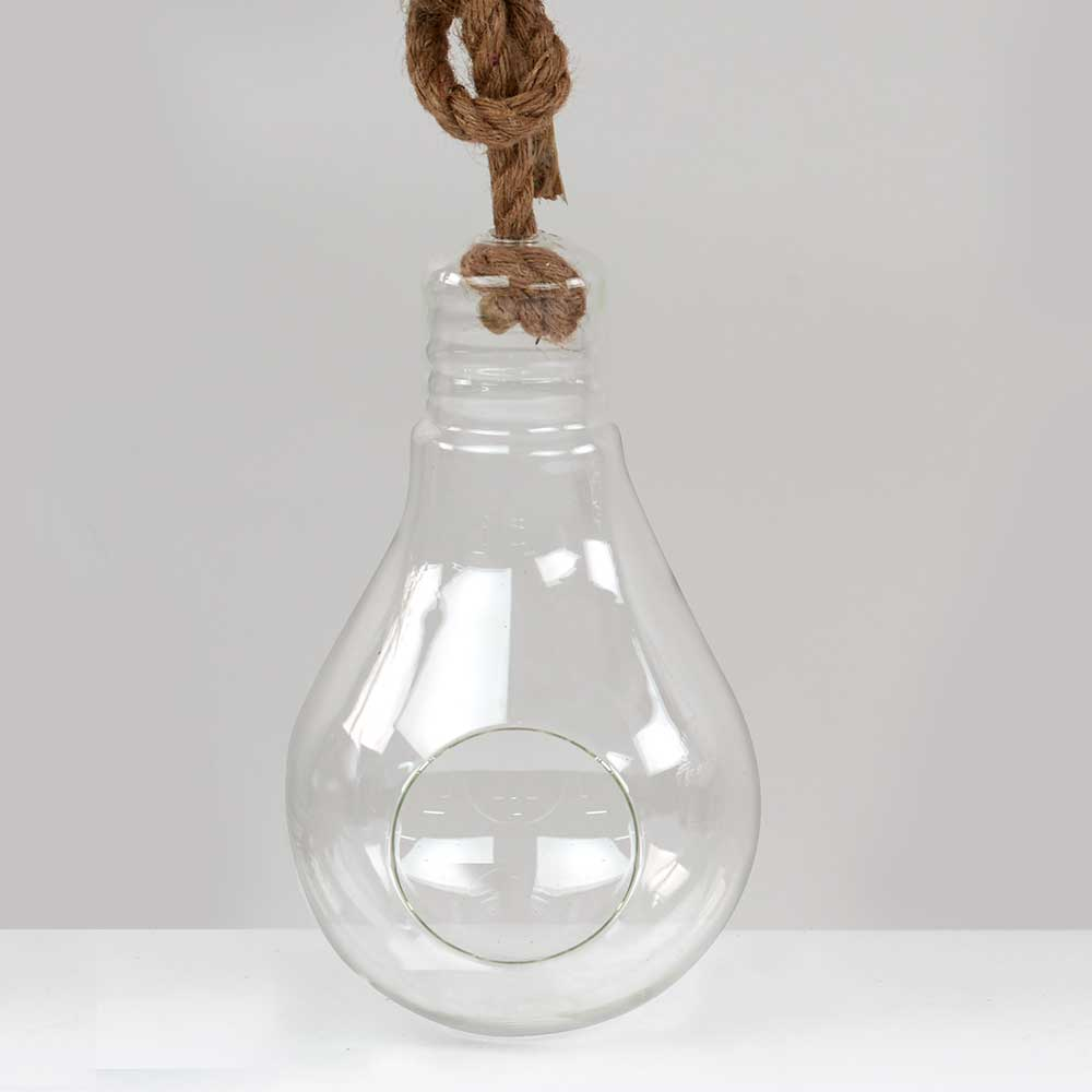 "GLASS   12"" ROPE HANGING BULB"