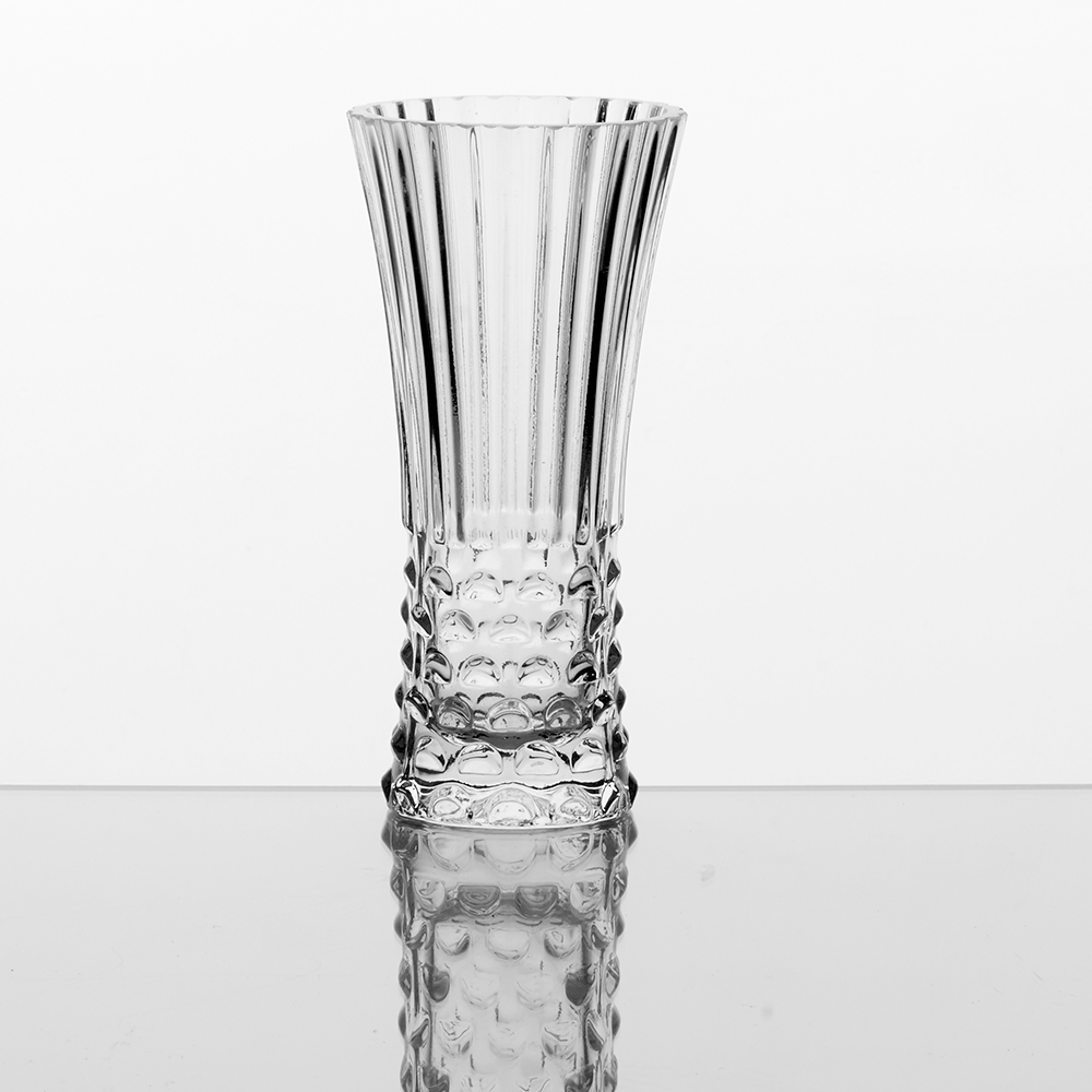 "GLASS 8"" VASE, CLEAR"