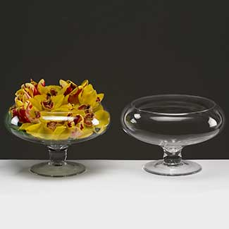 "GLASS   6.5"" X 7.5"" FOOTED BOWL"