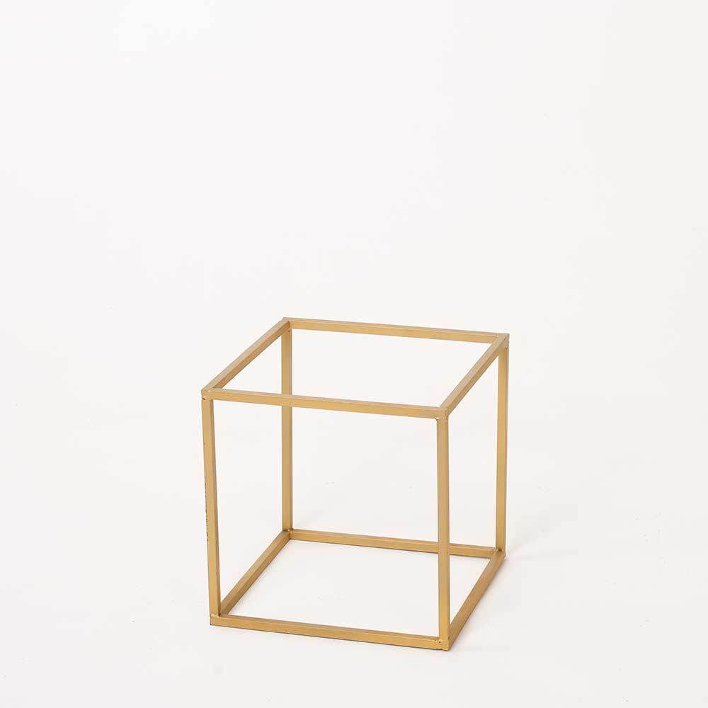 "10"" GOLD METAL CUBE"