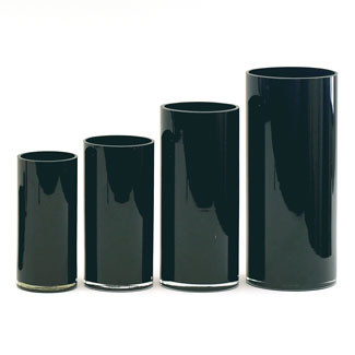 "GLASS   12"" X 5.25"" CYLINDER,BLACK"