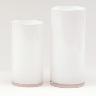 "GLASS   14"" X 6.5"" CYLINDER,WHITE"