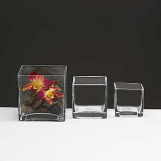 "GLASS   2.75"" CUBE VASE,CLEAR"