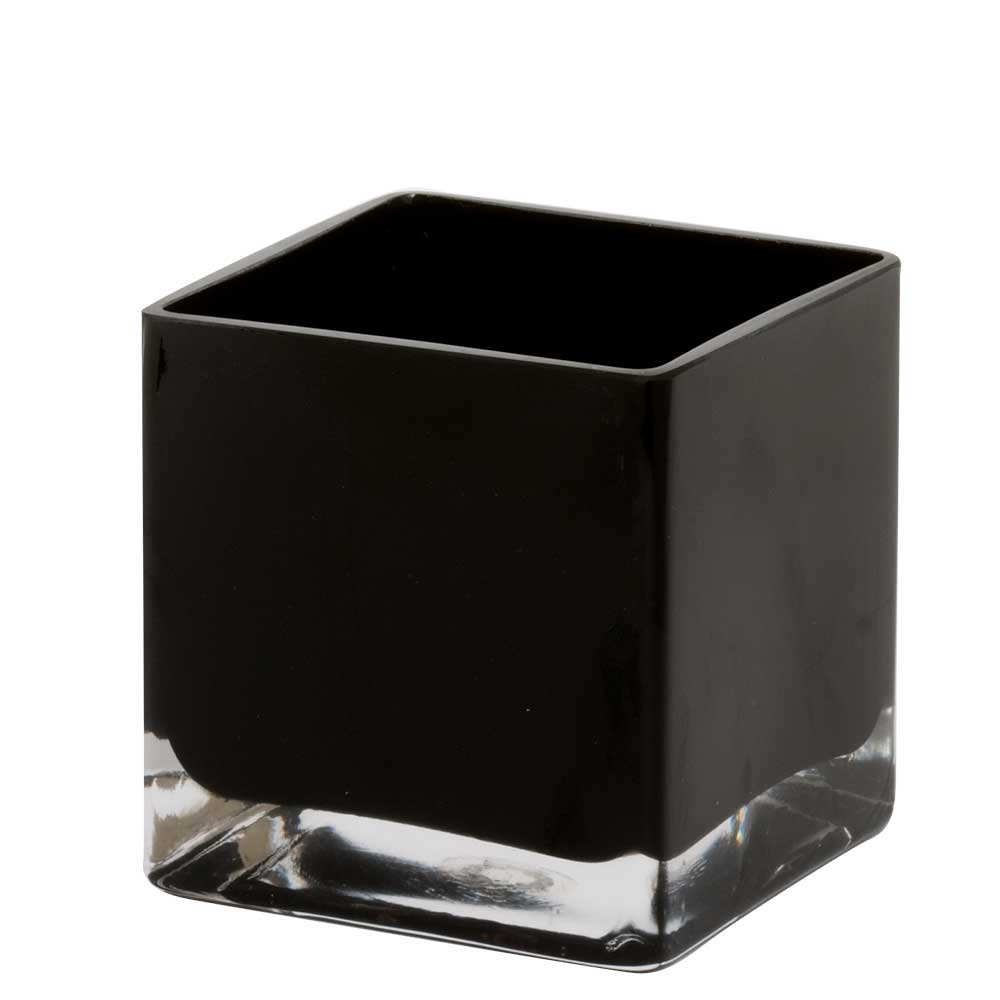 "GLASS   4.5"" CUBE VASE,BLACK"
