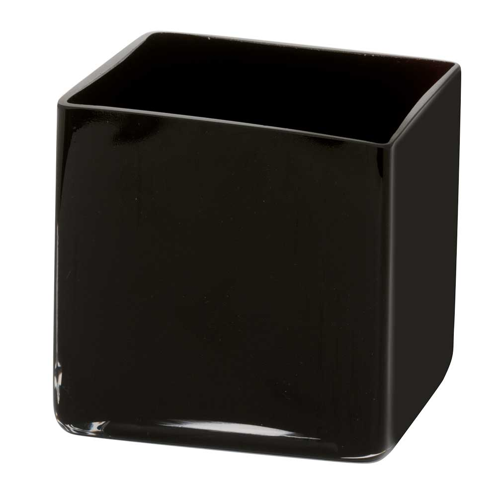 "GLASS   5.25"" CUBE VASE,BLACK"
