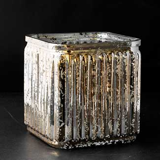 "GLASS  4""X3.75""MERCURY CUBE,GOLD"
