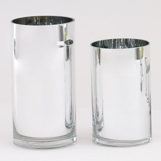 "GLASS   10"" X 4.5""CYLINDER,SILVER"