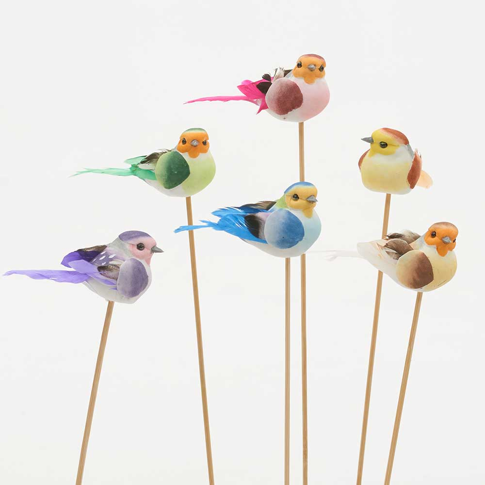 "3.5"" ASSORTED BIRDS ON STICK"
