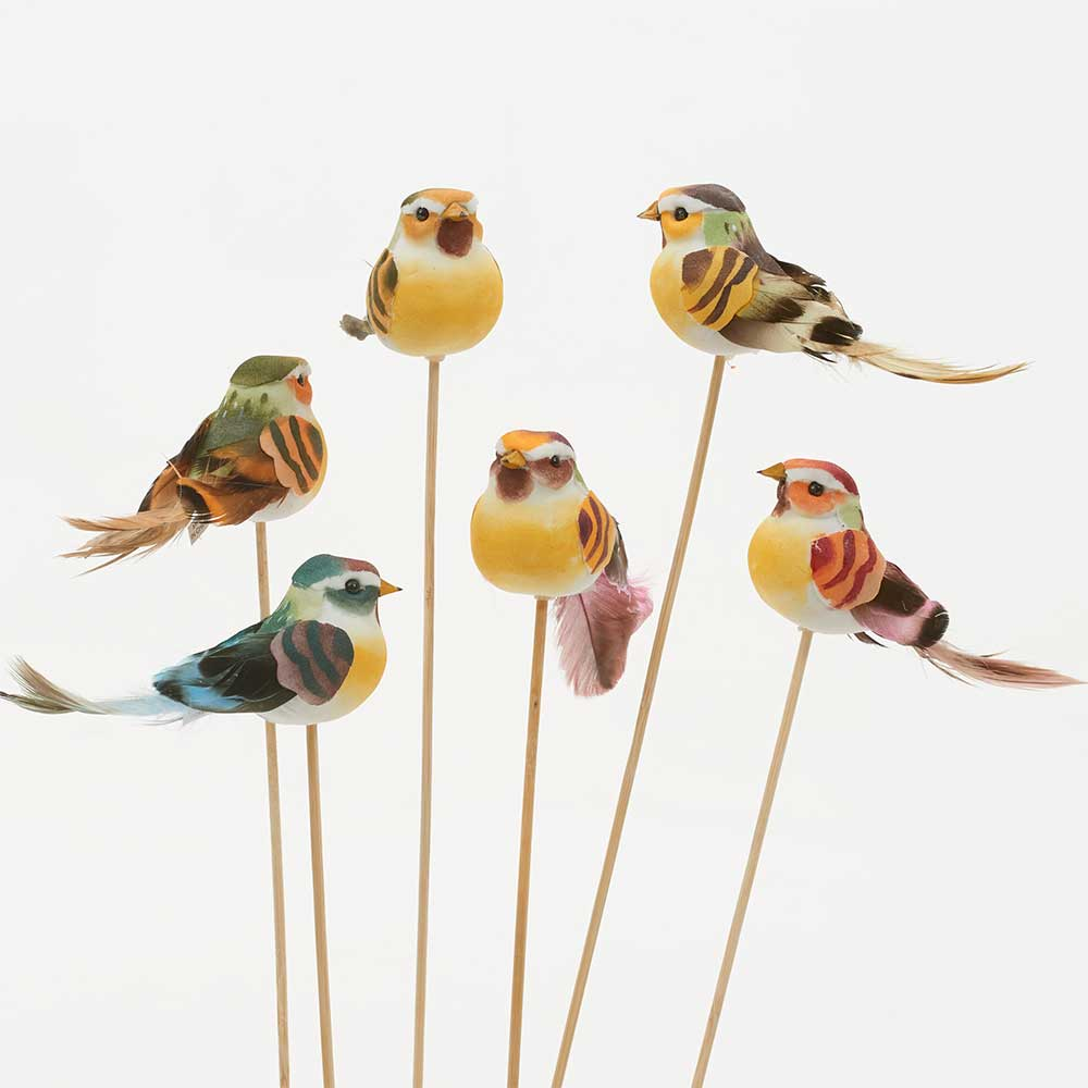 "4"" ASSORTED BIRDS ON STICK"