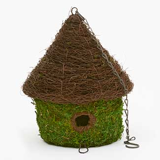 "14"" MOSS BIRD HOUSE BUNGALOW"