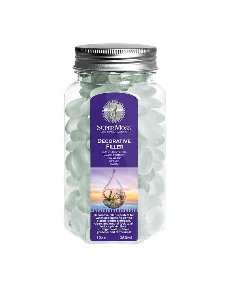 GLASS PEBBLES 11OZ FW,FROSTED WHITE