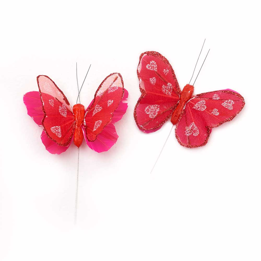 "3"" RED FEATHER BUTTERFLIES"