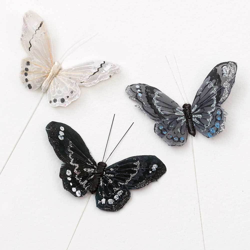"3.75"" FEATHER BUTTERFLIES"