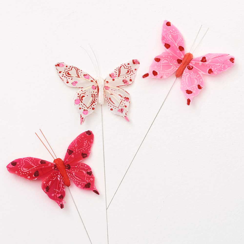 "4"" RED AST. RED BUTTERFLIES"