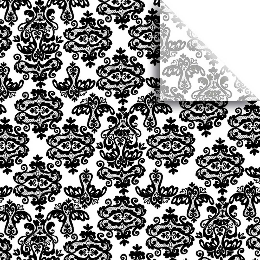 "20""X30"" TISSUE, BLACK DAMASK"