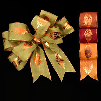"1 3/8"" WIRED FALL LEAVES RIBBON"