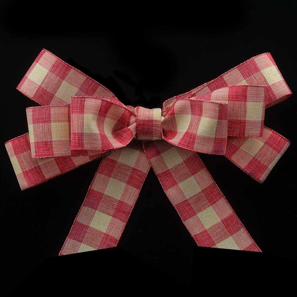 "1 3/8"" FALL LINEN CHECKS RIBBON"