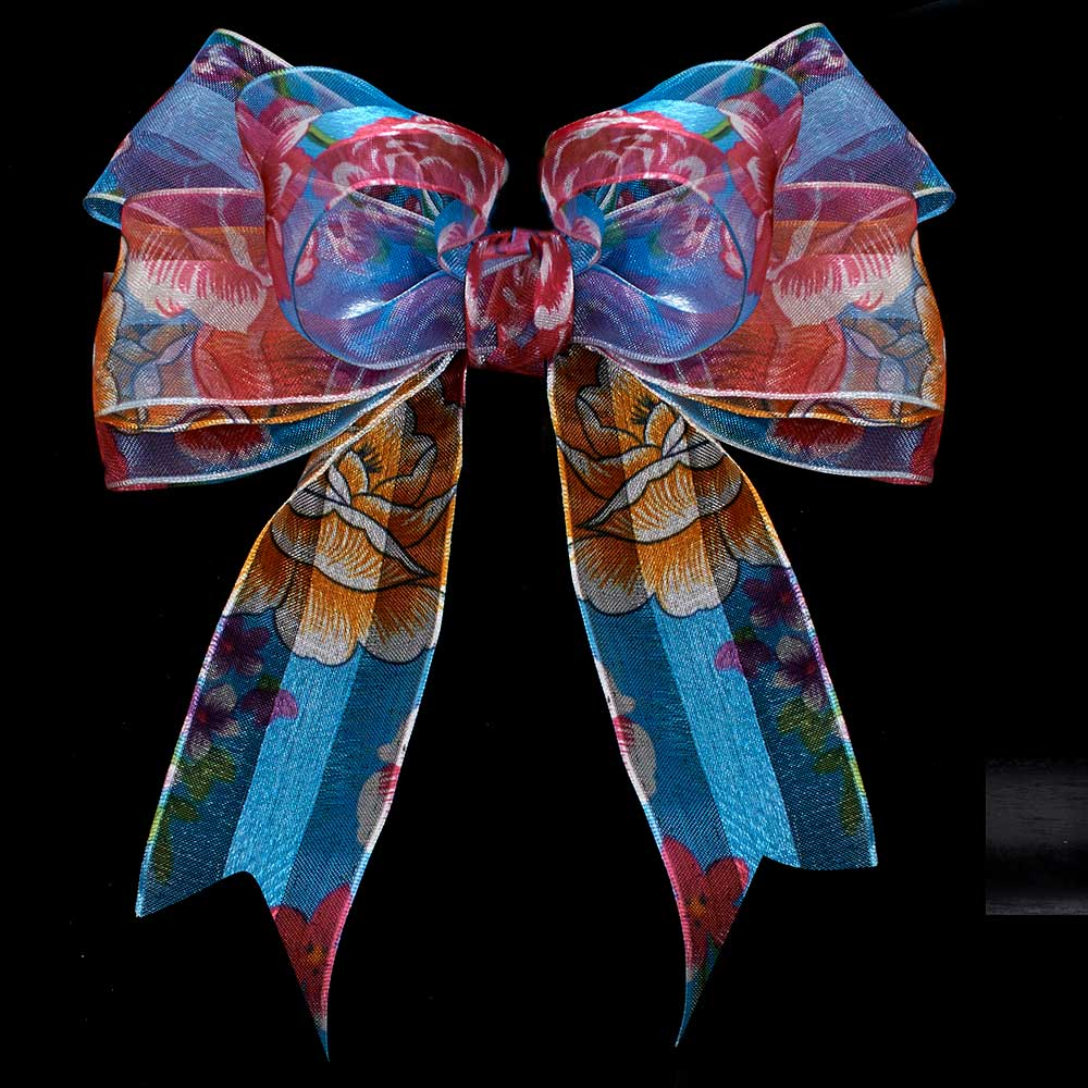 "1 3/8"" WIRED FORAL SHEER RIBBON"