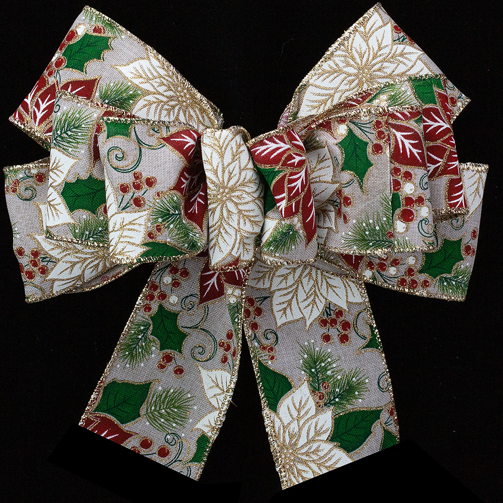 "2 1/2"" WIRED COUNTRY CHRISTMAS RIBBON"