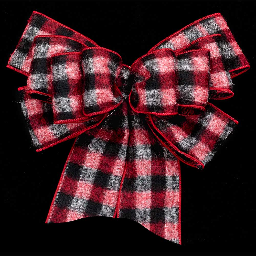 "2 1/2"" WIRED FELT BUFFALO PLAID RIBBON"