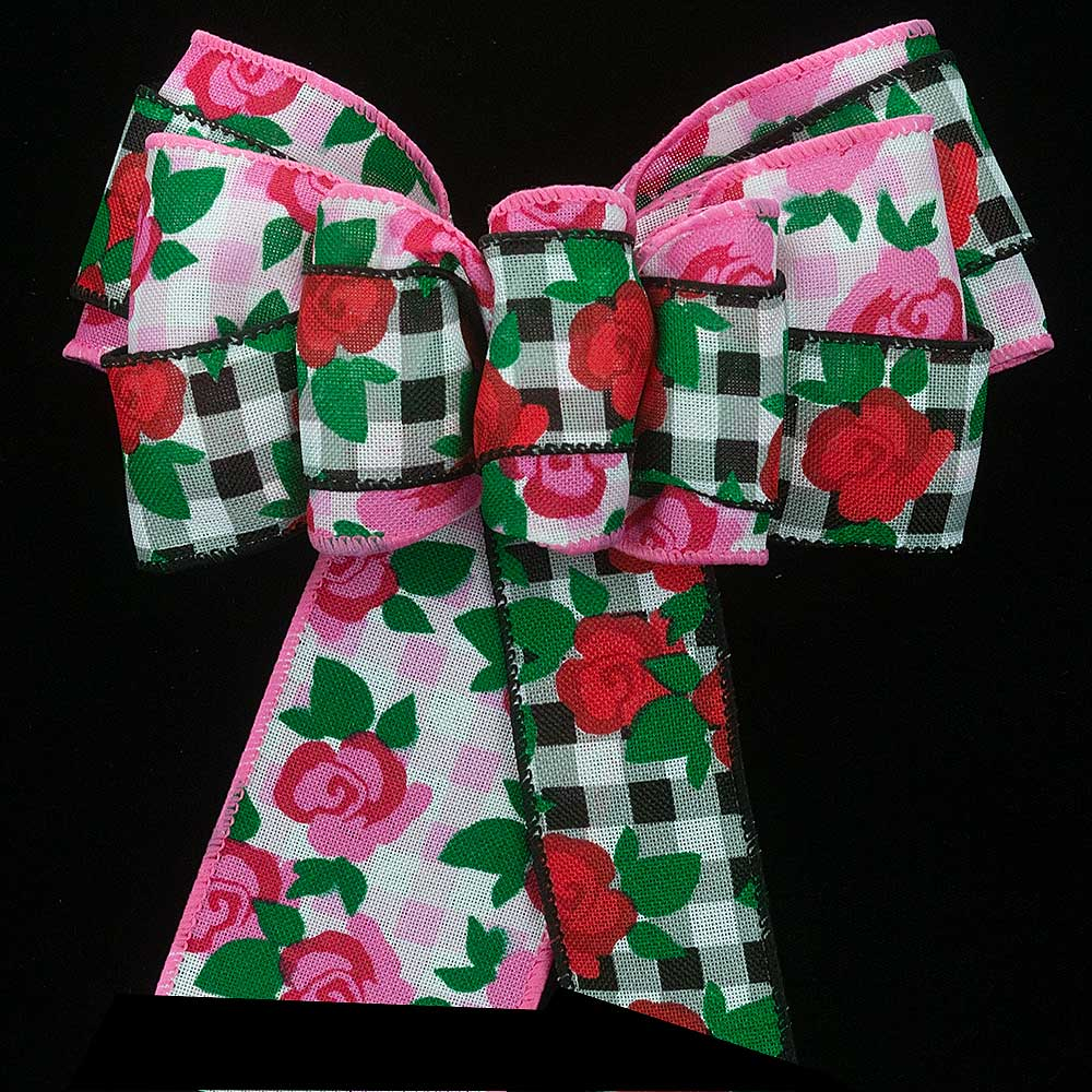 "2 1/2"" WIRED GINGHAM ROSES RIBBON"