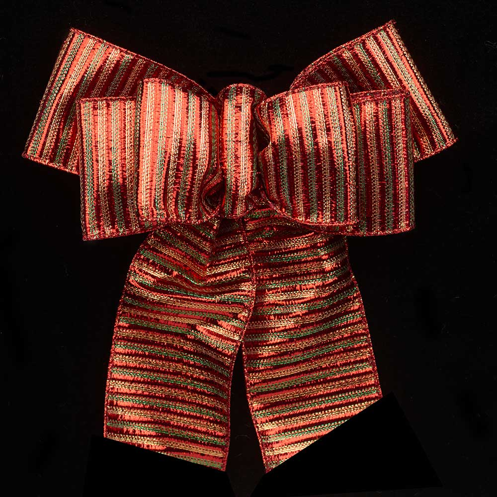 "2 1/2"" WIRED STRIPED LAMME RIBBON"